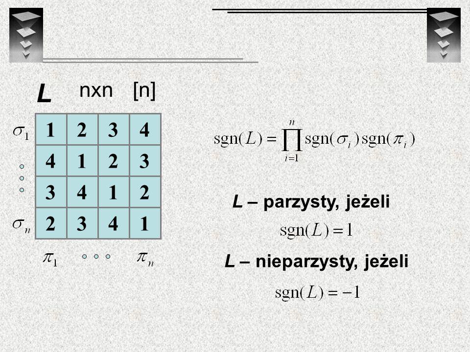 L nxn [n] 1 2 3 4 L – parzysty, jeżeli L – nieparzysty, jeżeli
